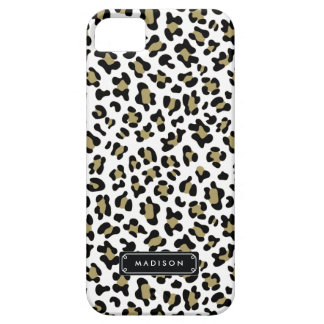 Chic Wild Gold Beige Leopard Print Personalized Case For The iPhone 5