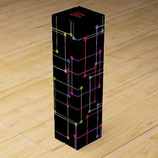CHIC WINE GIFT BOX_MODERN SQUARES/DOTS ON BLACK WINE GIFT BOX