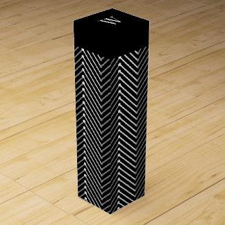 CHIC WINE GIFT BOX_MODERN WHITE/GREY/BLACK ZIGZAG WINE BOTTLE BOXES
