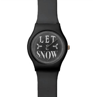 Chic Winter Chalkboard Let it Snow Wrist Watches