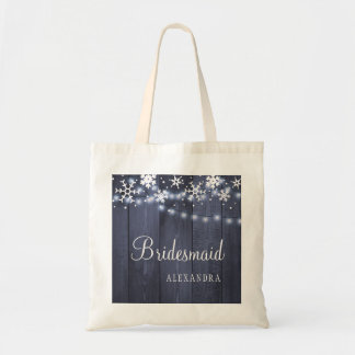 Chic winter rustic country wood wedding bridesmaid tote bag