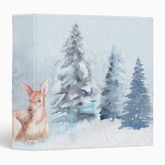 Chic Winter Watercolor Deer in Forest 3 Ring Binders