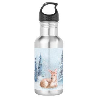 Chic Winter Watercolor Deer in Forest 532 Ml Water Bottle