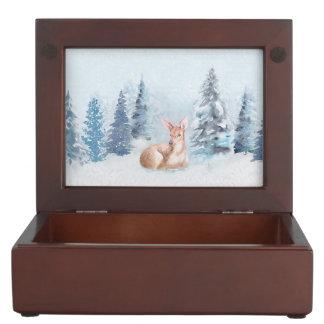 Chic Winter Watercolor Deer in Forest Keepsake Box