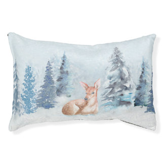 Chic Winter Watercolor Deer in Forest Pet Bed