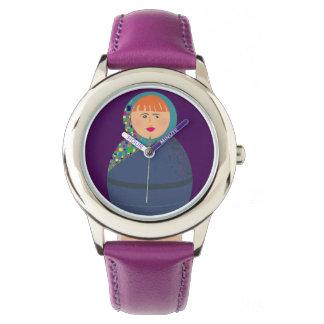 Chic Woman Colorful Hot Portrait Purple Stylish Watch