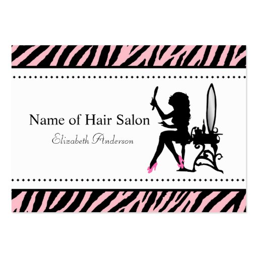Chic Woman Pink and Black Zebra Hair Salon Business Cards