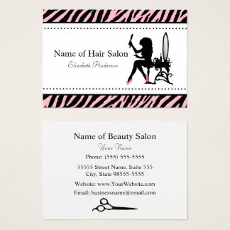 Chic Woman Pink and Black Zebra Hair Salon Business Card