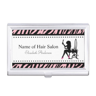 Chic Woman Pink and Black Zebra Hair Salon Business Card Holder