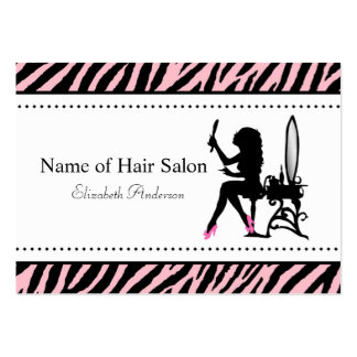 Chic Woman Pink and Black Zebra Hair Salon Large Business Card