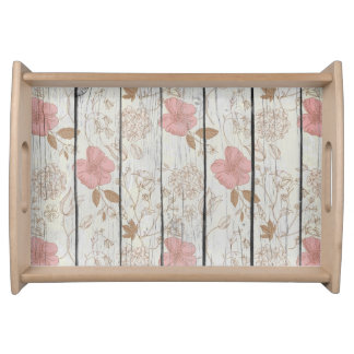 Chic Wood Floral Serving Tray