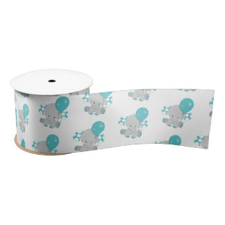 Chic Wood Teal Elephant Gender Neutral Baby Satin Ribbon