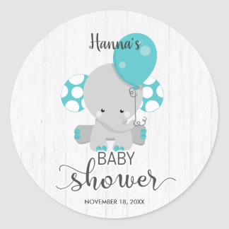 Chic Wood Teal Elephant Gender Neutral Baby Shower Classic Round Sticker