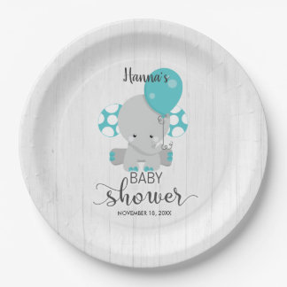 Chic Wood Teal Elephant Gender Neutral Baby Shower Paper Plate