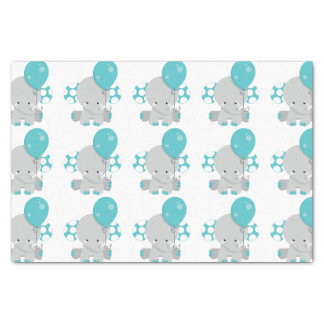 Chic Wood Teal Elephant Gender Neutral Baby Tissue Paper