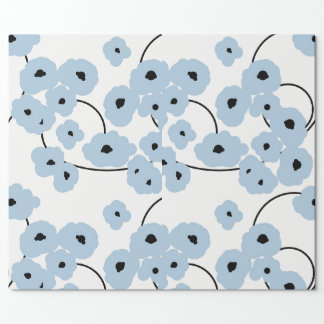 CHIC WRAPPING PAPER_ MOD  BLUE & BLACK POPPIES_DIY