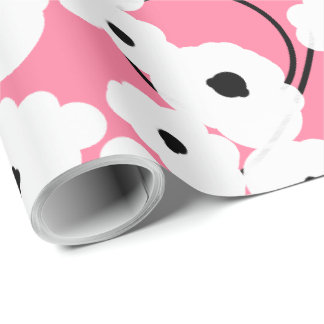 CHIC WRAPPING PAPER_ MOD  PINK & BLACK POPPIES