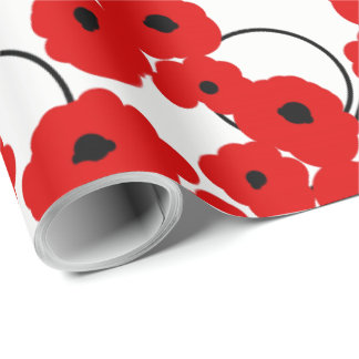 CHIC WRAPPING PAPER_ MOD RED & BLACK POPPIES