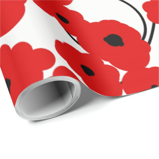 CHIC WRAPPING PAPER_ MOD  RED& BLACK POPPIES