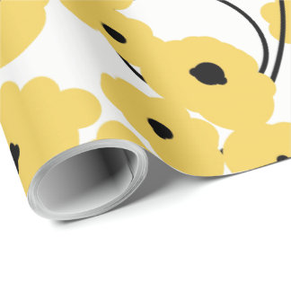 CHIC WRAPPING PAPER_ MOD  YELLOW & BLACK POPPIES