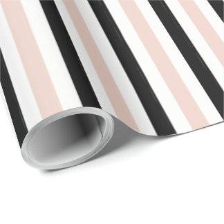 CHIC WRAPPING PAPER_ MODERN PINK /BLACK STRIPES