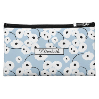 .CHIC WRISTLET/BAG-MOD WHITE & BLACK POPPIES MAKEUP BAG