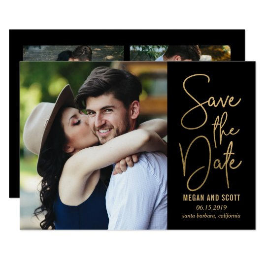 Chic Writing EDITABLE COLOR Save The Date Gold Card