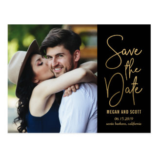 Chic Writing EDITABLE COLOR Save The Date Postcard