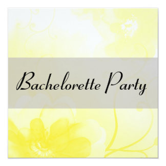 Chic Yellow and Gray Flower Bachelorette Party Card