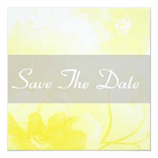 "Chic Yellow and Gray Flower Save The Date Notice 5.25"" Square Invitation Card"