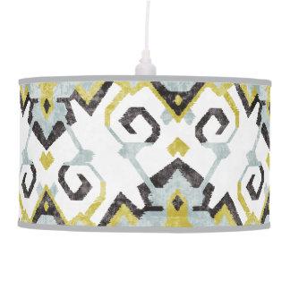 Chic yellow and gray ikat tribal pattern pendant lamp