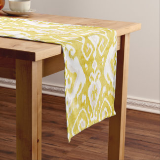 Chic yellow and grey damask ikat tribal pattern short table runner