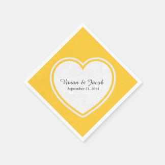 Chic Yellow and White Custom Wedding Napkin Paper Napkins
