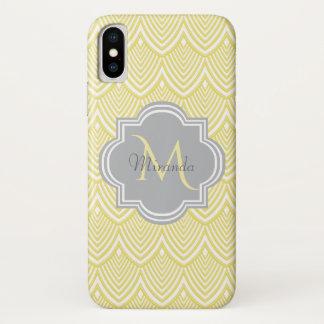Chic Yellow Art Deco Scallops Gray  Monogram Name Case-Mate iPhone Case