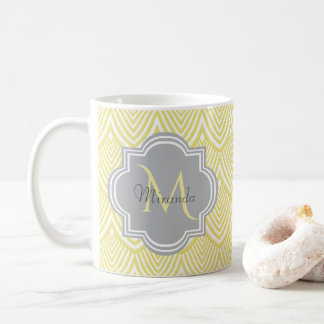 Chic Yellow Art Deco Scallops Gray Monogram Name Coffee Mug