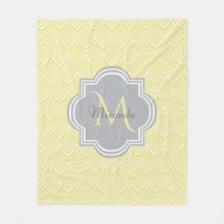 Chic Yellow Art Deco Scallops Gray  Monogram Name Fleece Blanket