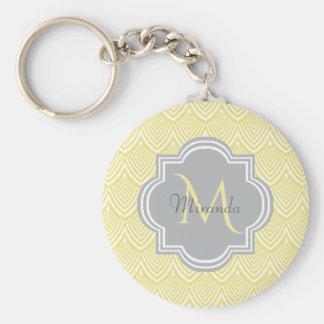 Chic Yellow Art Deco Scallops Gray Monogram Name Keychain