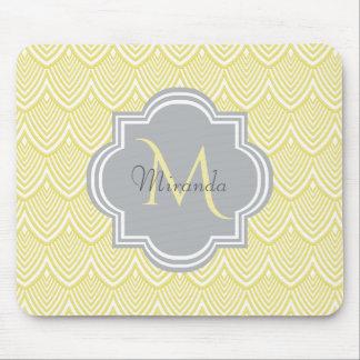 Chic Yellow Art Deco Scallops Gray  Monogram Name Mouse Pad