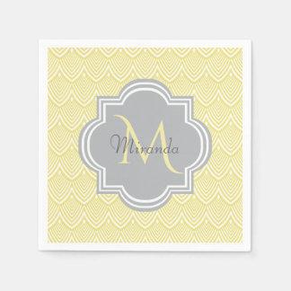 Chic Yellow Art Deco Scallops Gray Monogram Name Paper Napkins