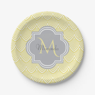 Chic Yellow Art Deco Scallops Gray Monogram Name Paper Plate