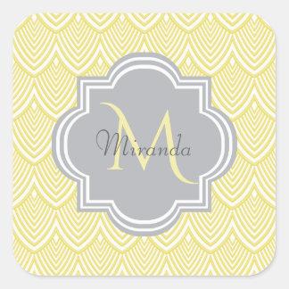 Chic Yellow Art Deco Scallops Gray  Monogram Name Square Sticker