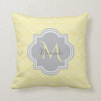 Chic Yellow Art Deco Scallops Gray  Monogram Name Throw Pillow