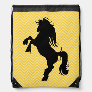 Chic Yellow Chevron Horse Drawstring Backpack