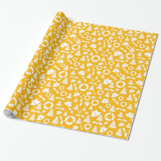 Chic Yellow Christmas Tree Wreath Bells Wrapping Paper