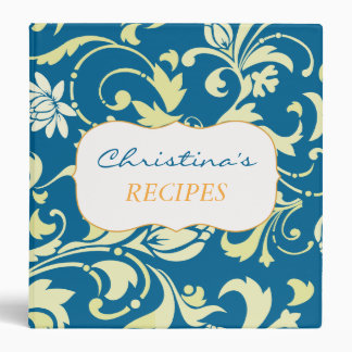 Chic Yellow Floral Ornamental Vintage Bright Blue Binders