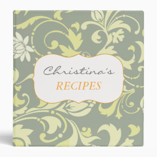 Chic Yellow Floral Ornamental Vintage Pattern Gray Vinyl Binders