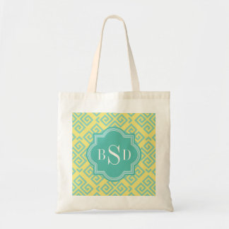 Chic yellow greek key geometric patterns monogram tote bag