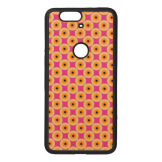 Chic Yellow Pink Polka Dot Wood Nexus 6P Case