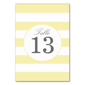 Chic Yellow Stripes Table Number Card Table Cards