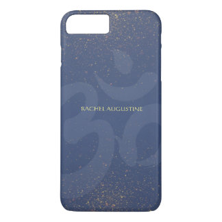 Chic Yoga Instructor Om Symbol Blue & Gold Glitter iPhone 7 Plus Case